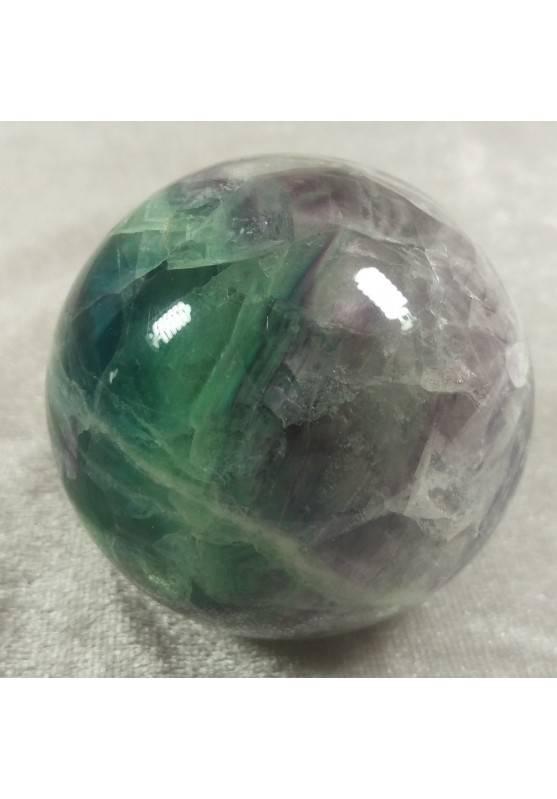 Sfera GRANDE di Fluorite Mista Verde Viola Cristallo Minerali Palla Pietra RARA-3