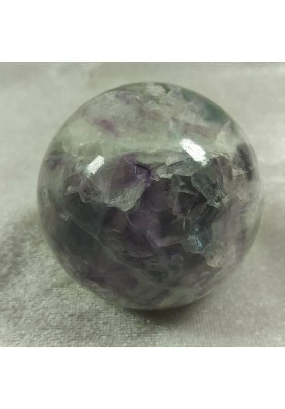 Sfera GRANDE di Fluorite Mista Verde Viola Cristallo Minerali Palla Pietra RARA-4