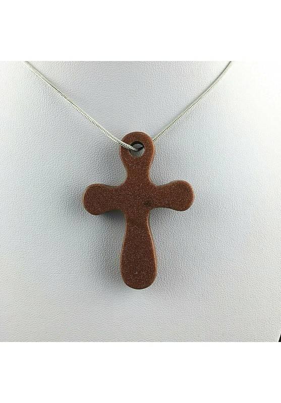Ciondolo Artigianale Croce in Pietra Del Sole Rossa Avventurina Regalo Gioiello-1