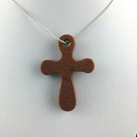 Handmade Cross Pendant in Red SUN STONE Aventurine Gift Idea Jewel-1