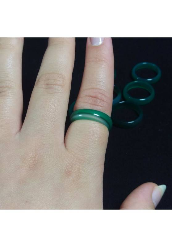 * Green AGATE Ring * Jewel Crystal Healing Chakra−3