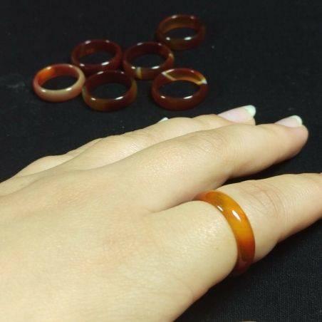 * Natural CARNELIAN AGATE Ring * Jewel Crystal Healing Chakra−3