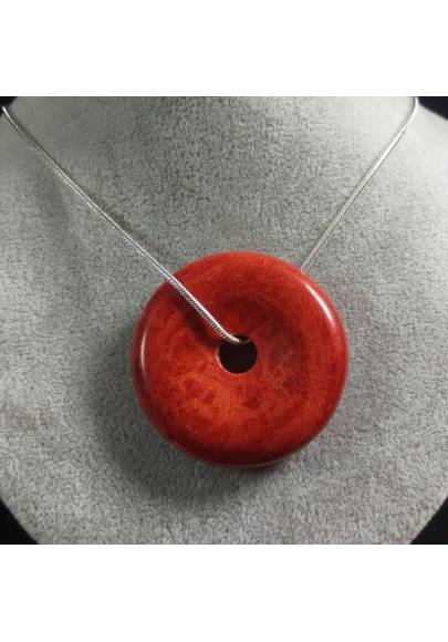 Pendant Donuts in Red Madrepore Mother of Pore MINERALS Crystals Reiki Crystal Healing A+-1
