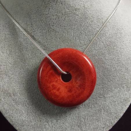 Pendant Donuts in Red Madrepore Mother of Pore MINERALS Crystals Reiki Crystal Healing A+-2