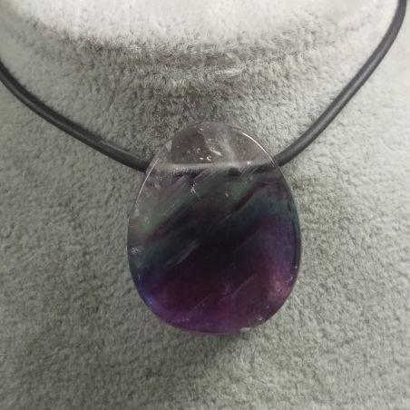 Pendant Gemstone in Purple Fluorite Chain Jewel Gift Idea Bijou Crystal Healing-2