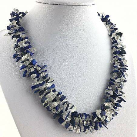 Precious Necklace in Lapis Lazuli & Hyaline Quartz Chips Jewel Gift Idea A+-1