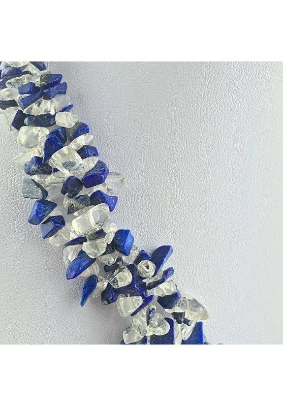Precious Necklace in Lapis Lazuli & Hyaline Quartz Chips Jewel Gift Idea A+-2
