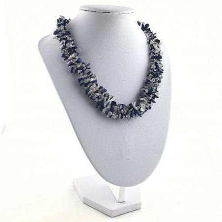 Precious Necklace in Lapis Lazuli & Hyaline Quartz Chips Jewel Gift Idea A+−3