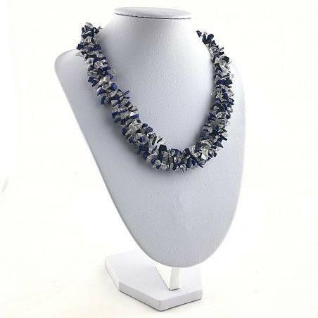 Precious Necklace in Lapis Lazuli & Hyaline Quartz Chips Jewel Gift Idea A+−3