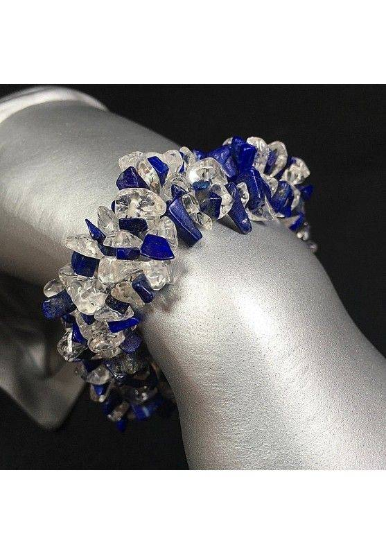 Hyaline Quartz Clear & LAPIS LAZULI Chips Bracelet Jewel Woman Precious-1