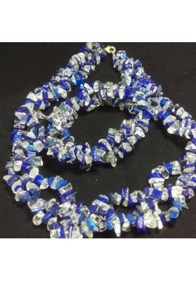 Bracelet + Necklace in LAPIS LAZULI and CLEAR QUARTZ Chips 15% OFF-1