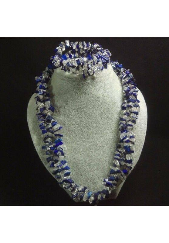Bracelet + Necklace in LAPIS LAZULI and CLEAR QUARTZ Chips 15% OFF-2