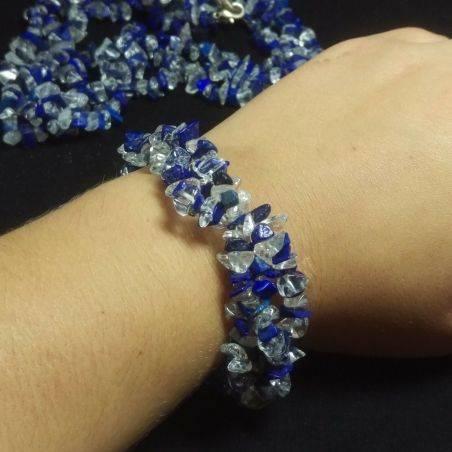 Bracelet + Necklace in LAPIS LAZULI and CLEAR QUARTZ Chips 15% OFF−3