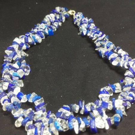 Bracelet + Necklace in LAPIS LAZULI and CLEAR QUARTZ Chips 15% OFF-4