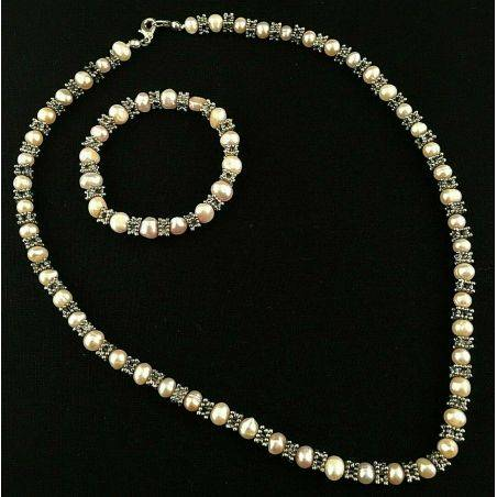 Bracelet + Necklace in Naturals PEARL Vintage SILVER 15% OFF Special Jewels-1