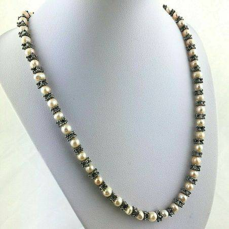 Bracelet + Necklace in Naturals PEARL Vintage SILVER 15% OFF Special Jewels-4