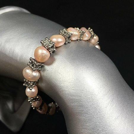PEARL Bracelet and VINTAGE Silver Bracelet Beads Chakra Stone Minerals A+-1