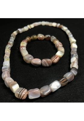 Bracelet + Necklace in GREY / BROWN AGATE Tumble Stone 15% OFF Healing Crystals-2