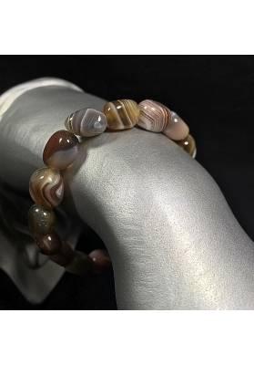 Cracked Brown Carnelian Agate Bracelet Natura Jewel Beads Crystal Healing A+-2