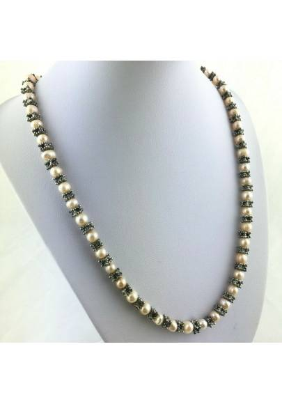 Necklace in PEARL Naturals with Vintage Silver Jewel Gift Idea Healing Crystals-1
