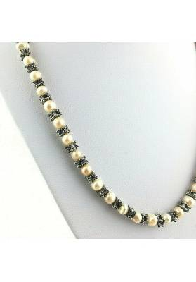 Necklace in PEARL Naturals with Vintage Silver Jewel Gift Idea Healing Crystals-2