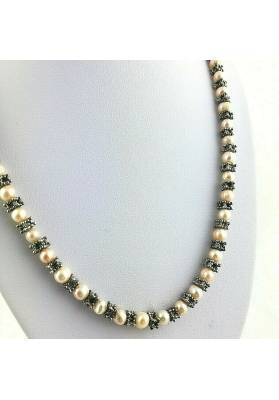 Necklace in PEARL Naturals with Vintage Silver Jewel Gift Idea Healing Crystals−3