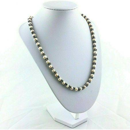 Necklace in PEARL Naturals with Vintage Silver Jewel Gift Idea Healing Crystals-4