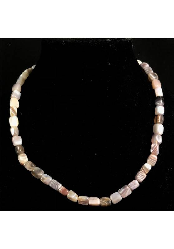 Necklace in Tumbled Stone in Grey - Brown AGATE Perfect Cut Jewel Gift Idea A+-1
