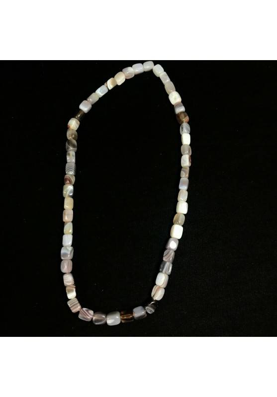 Necklace in Tumbled Stone in Grey - Brown AGATE Perfect Cut Jewel Gift Idea A+−3