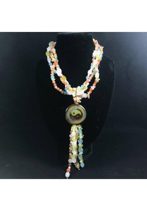 Necklace in CARNELIAN CITRINE Quartz & HYALINE & Charm yin yang CARNELIAN Jewel-1