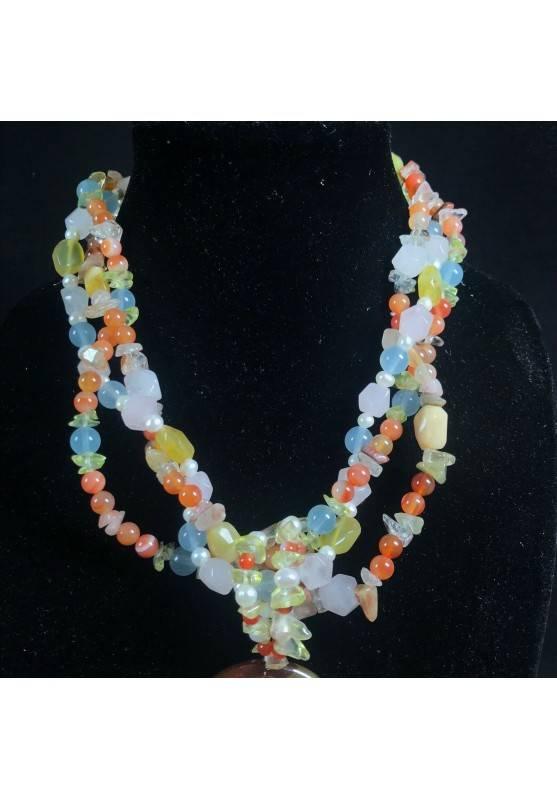 Necklace in CARNELIAN CITRINE Quartz & HYALINE & Charm yin yang CARNELIAN Jewel-2