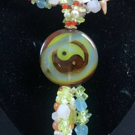 Necklace in CARNELIAN CITRINE Quartz & HYALINE & Charm yin yang CARNELIAN Jewel-4