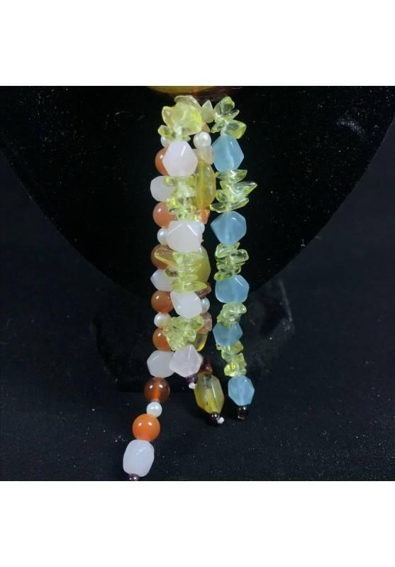 Necklace in CARNELIAN CITRINE Quartz & HYALINE & Charm yin yang CARNELIAN Jewel-5