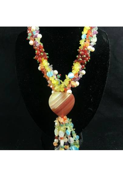 Necklace Chips in CARNELIAN FLUORITE with Charm in AGATE a HEART Jewel A+-1