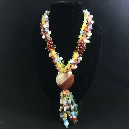 Necklace Chips in CARNELIAN FLUORITE with Charm in AGATE a HEART Jewel A+-2