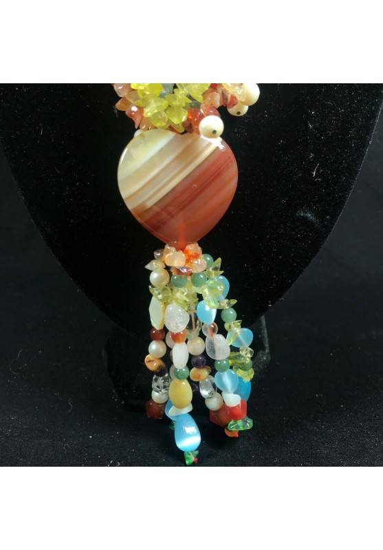 Necklace Chips in CARNELIAN FLUORITE with Charm in AGATE a HEART Jewel A+-5