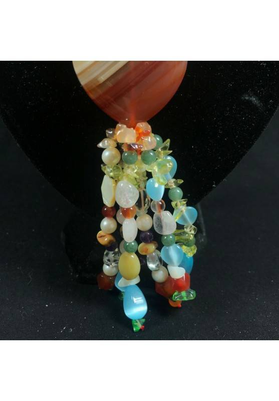 Necklace Chips in CARNELIAN FLUORITE with Charm in AGATE a HEART Jewel A+-6