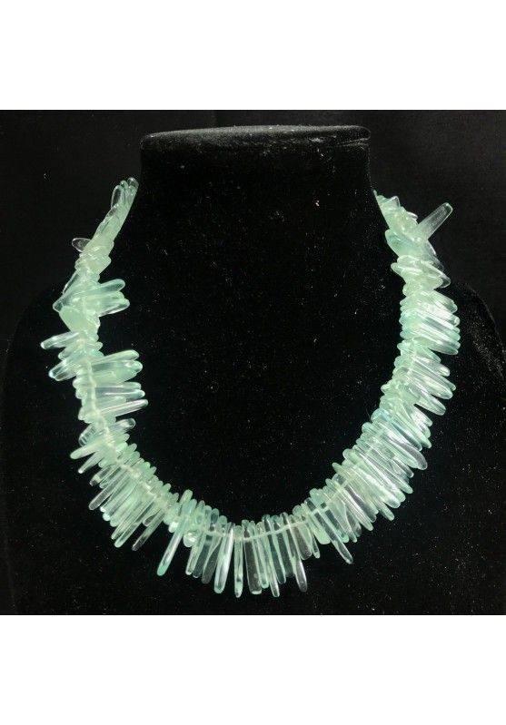 Collana in SCAGLIE di OSSIDIANA NOBILE VERDE RARA Gioiello Donna Bijou Minerali-1