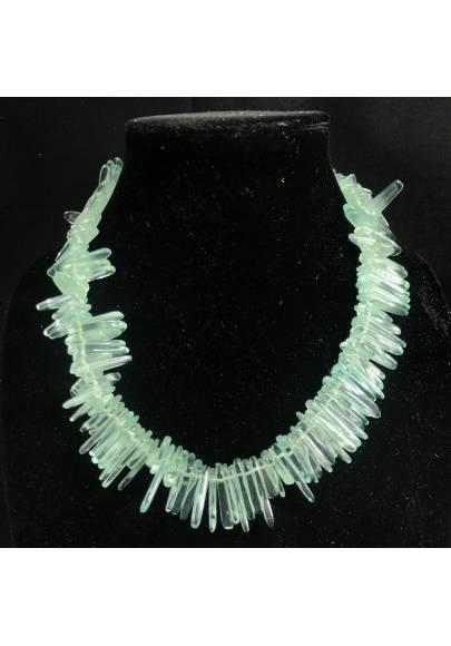 Necklace Chips in Aqua Blue OBSIDIAN Green Rare Jewel Woman Bijou MINERALS-1