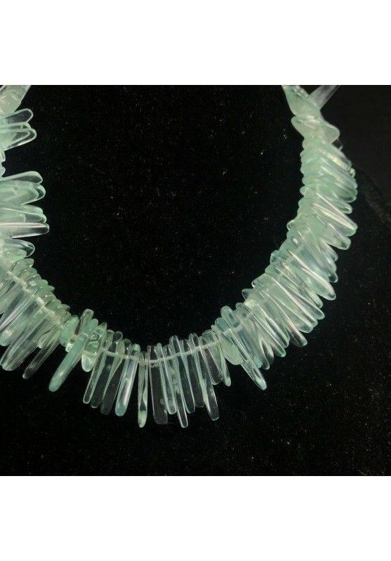 Necklace Chips in Aqua Blue OBSIDIAN Green Rare Jewel Woman Bijou MINERALS-2