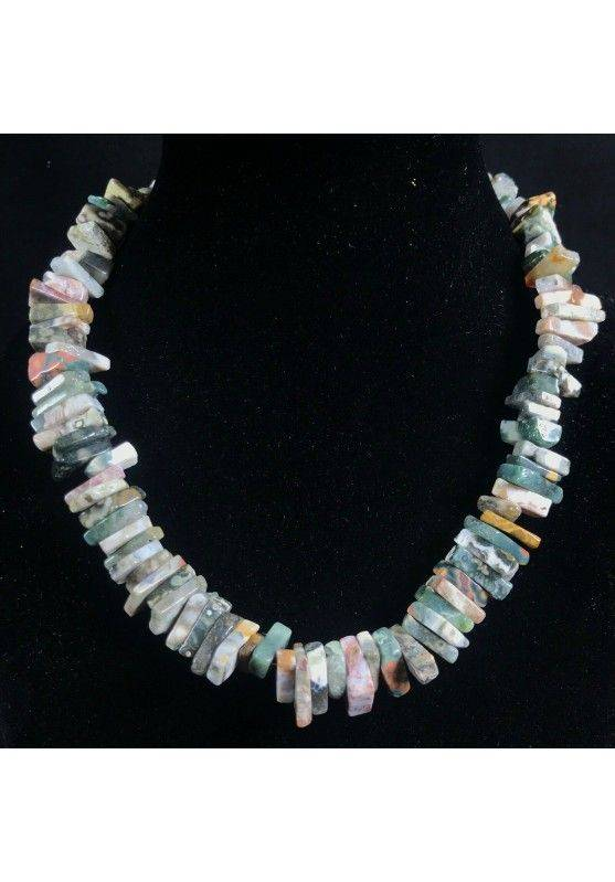 Necklace Chips in ORBICULAR OCEAN JASPER Jewel Woman MINERALS Gift Idea-1