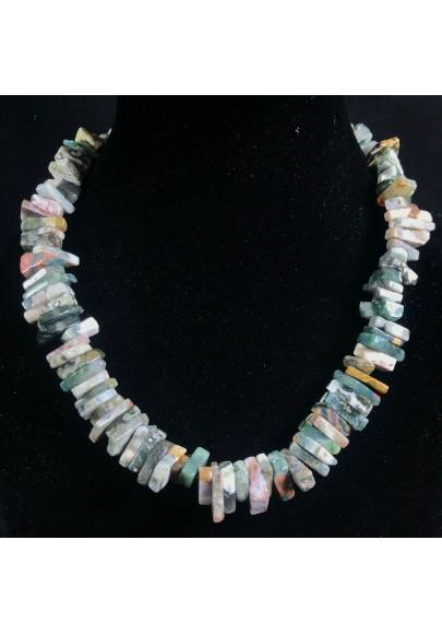 Necklace Chips in ORBICULAR OCEAN JASPER Jewel Woman MINERALS Gift Idea-1
