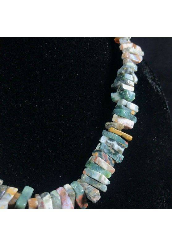 Necklace Chips in ORBICULAR OCEAN JASPER Jewel Woman MINERALS Gift Idea-2
