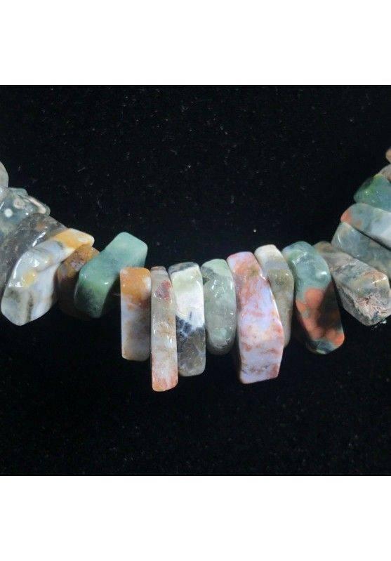 Necklace Chips in ORBICULAR OCEAN JASPER Jewel Woman MINERALS Gift Idea−3