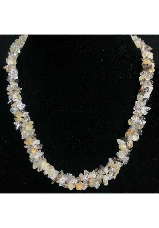 Necklace Chips in SMOKED CITRINE Quartz HYALINE RUTILATED Jewel Woman Gift Idea-1