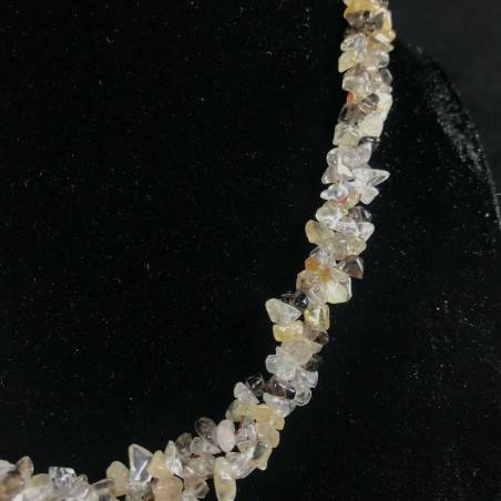 Necklace Chips in SMOKED CITRINE Quartz HYALINE RUTILATED Jewel Woman Gift Idea-2