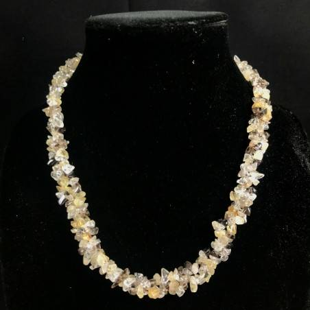 Necklace Chips in SMOKED CITRINE Quartz HYALINE RUTILATED Jewel Woman Gift Idea−3