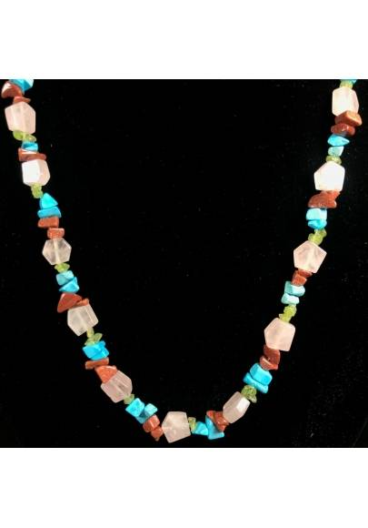 Necklace Chips in Turquoise Color Red SUN STONE & Hyaline Quartz A+-1