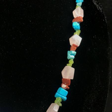 Necklace Chips in Turquoise Color Red SUN STONE & Hyaline Quartz A+-2