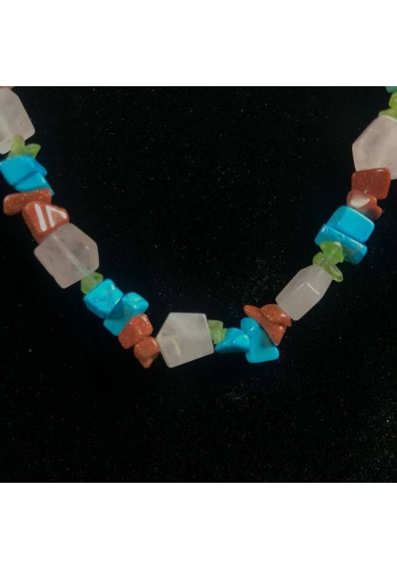 Necklace Chips in Turquoise Color Red SUN STONE & Hyaline Quartz A+−3